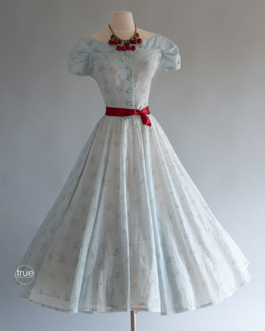 vintage 1940's dress ...pretty light & floaty semi-sheer floral full skirt dress