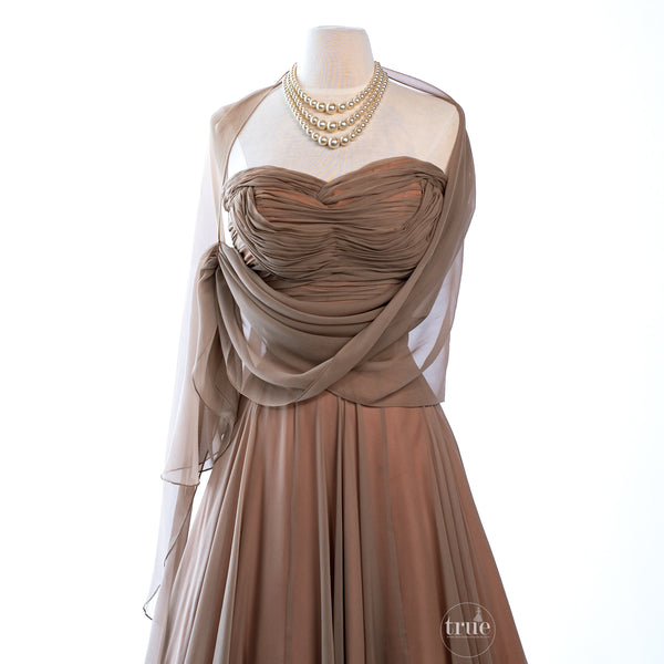 vintage 1950's dress ...dreamy ESTELLE ALLARDALE of beverly hills shirred bodice BOMBSHELL shelf-bust silk chiffon cocktail party dress with shawl