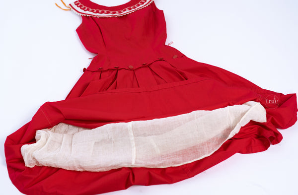 vintage 1950's red & white cotton LASSO embroidered dress