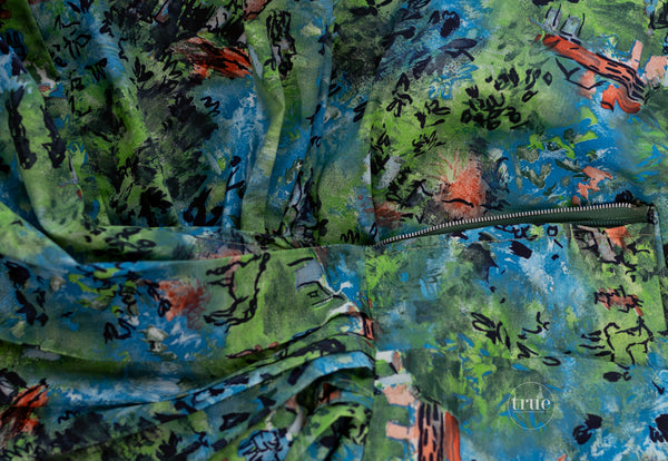 vintage 1950's dress novelty print impressionist ranch scene print