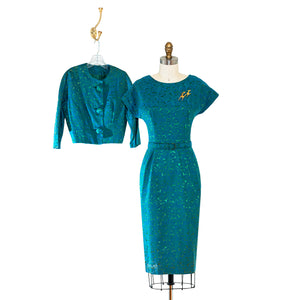 vintage 1950's dress ...lovely sapphire blue & emerald green brocade dress and jacket