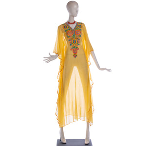 vintage 1970's embroidered yellow gauze festival caftan dress