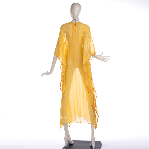 1970's embroidered yellow gauze festival caftan dress
