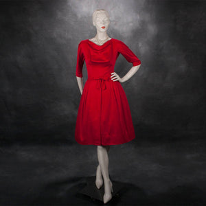 1950's Gigi Young new york red satin cocktail party dress