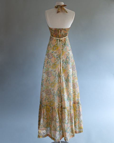 vintage 1970's dress ...best EVER Young Edwardian by Arpeja fan print halter maxi dress