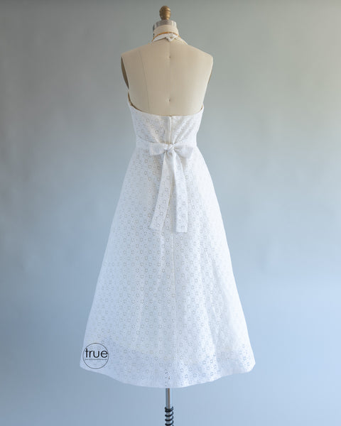 vintage 1960's dress ...sweet Algo-Ettes white eyelet halter dress