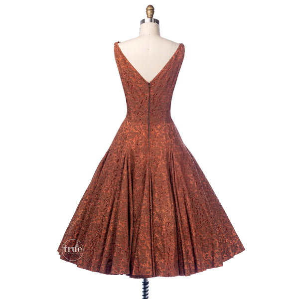 vintage 1940's dress ...decadent needle lace over a golden toasted apricot full circle skirt party dress