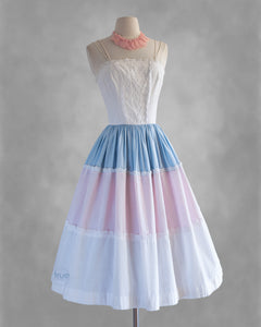 vintage 1950's dress ...sweetest EVER an Arkay white pink & blue cotton sundress