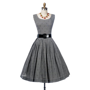 vintage 1950's dress ...classic Black & White Gingham rayon full skirt dress