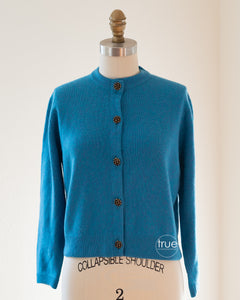 vintage 1950's sweater ...gorgeous BALLANTYNE cashmere cardigan w/ floral bouquet buttons