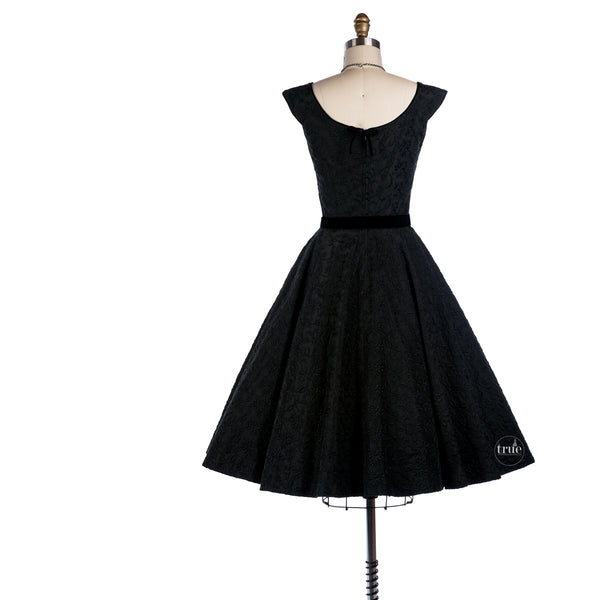 1950's black embroidered dress