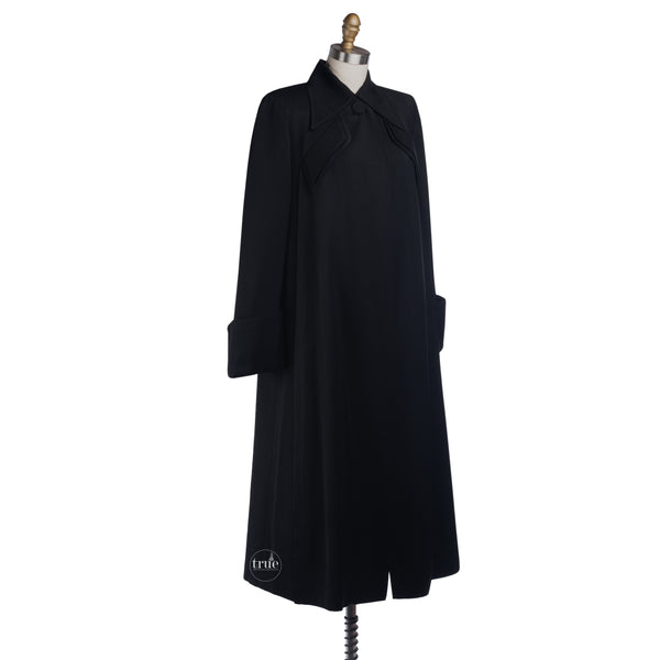 1940's black Gabardine swing coat