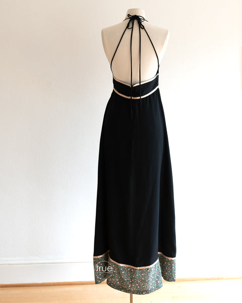 vintage 1970's dress ...black Gunne Sax double strap halter midi dress with cotton calico and ribbon trime