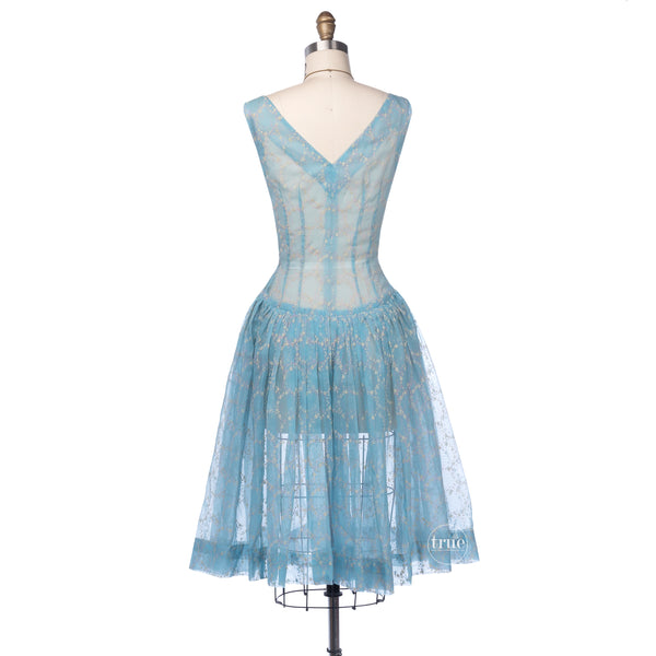 vintage 1940's dress ...breezy blue organza flocked floral wreath dress