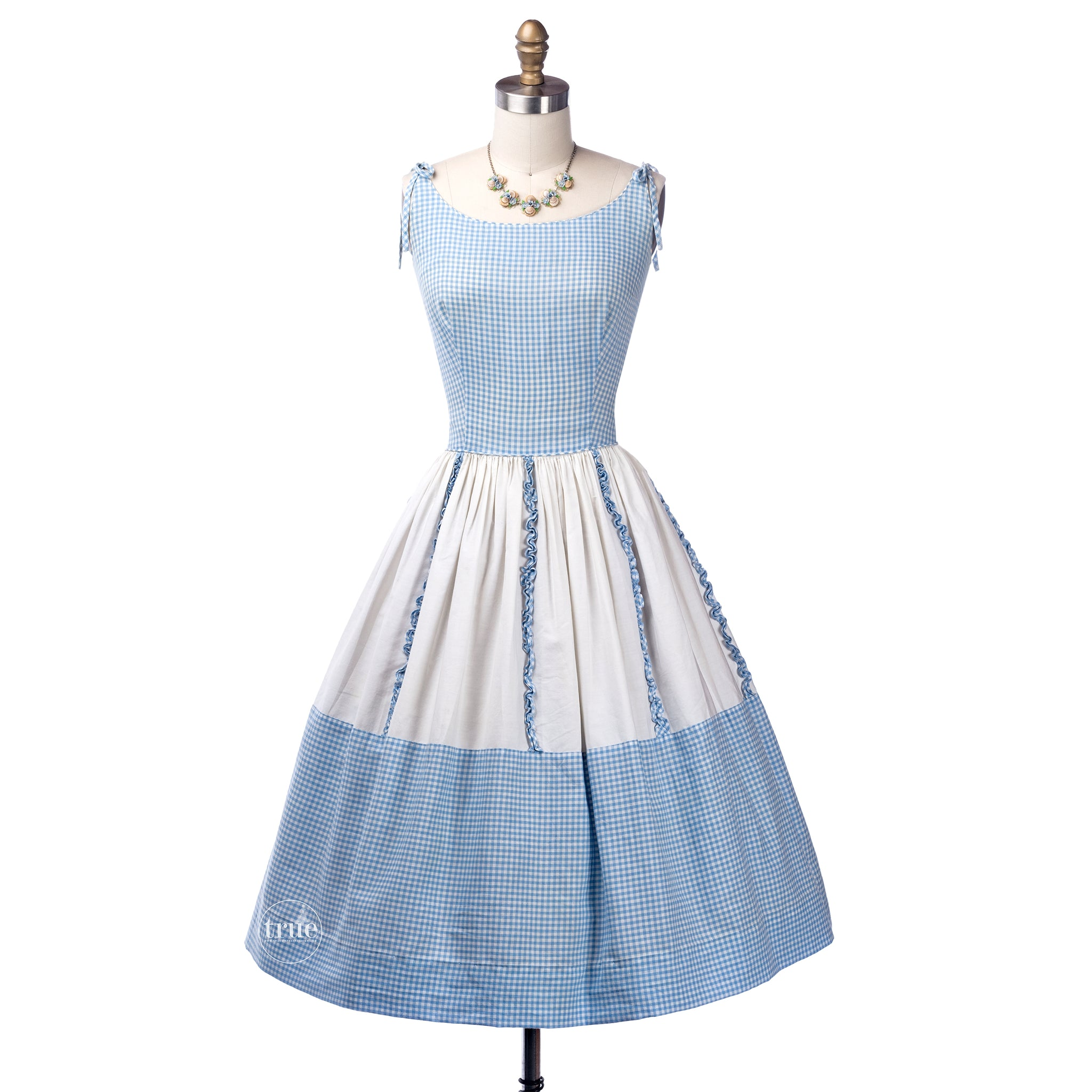 vintage 1950's dress ...so very brigitte bardot MarTex Original blue gingham full skirt sun dress