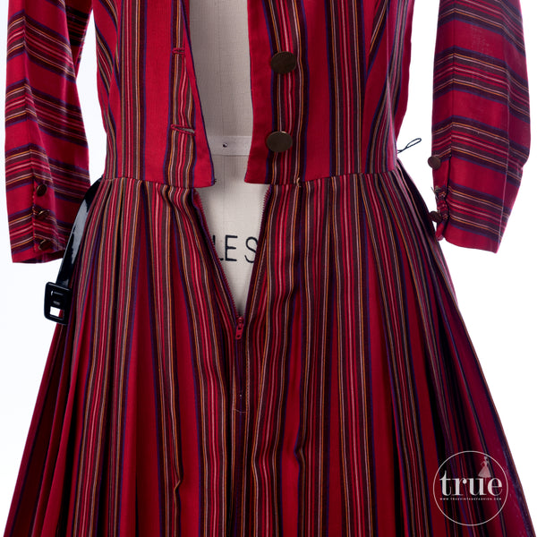 vintage 1950's dress ...classic Deb-Time Originals BONWIT TELLER tartan striped shirtwaist dress