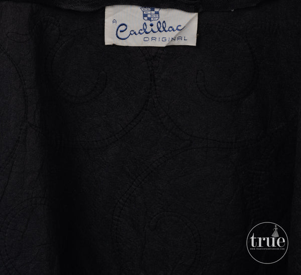 1940's a Cadillac Original black crepe soutache dress
