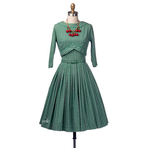 vintage 1950's dress ...fab Carol Brent green gingham full skirt dress & jacket