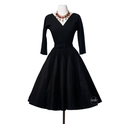 1950's Charles Cooper Design black wool dress