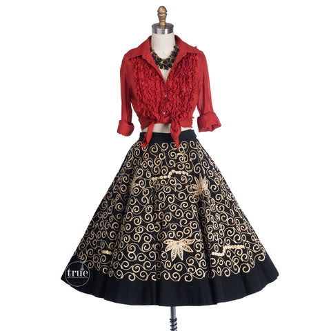 vintage 1950's mexican skirt ...heavily corded braided black cotton full circle skirt