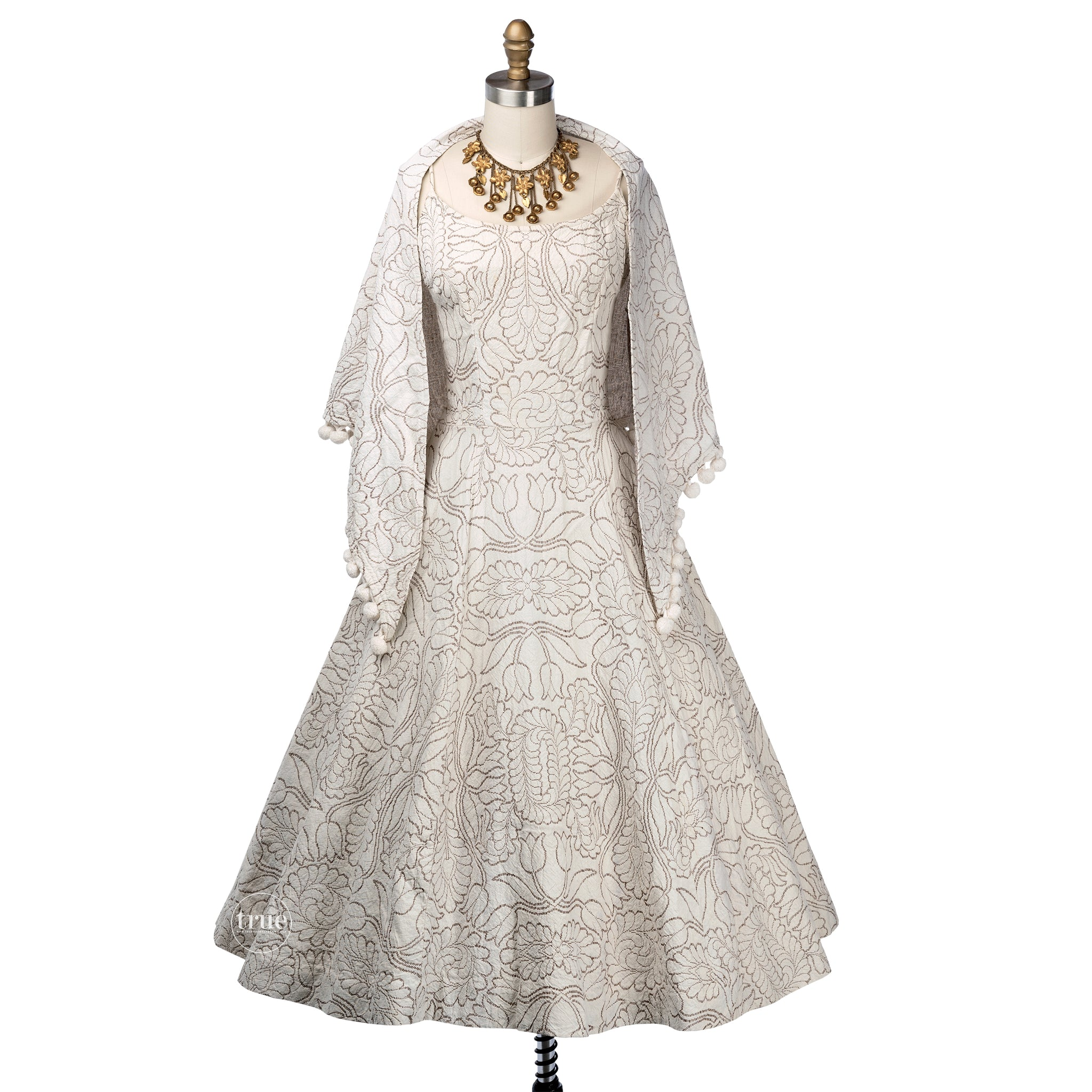 vintage 1950's dress & shawl ...cotton brocade full skirt dress and shawl