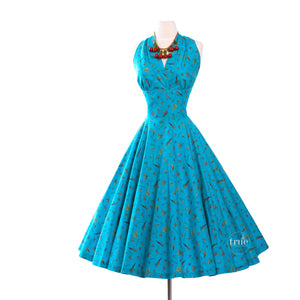 vintage 1950's COVER GIRL of MIAMI cotton fishing lures novelty print halter dress with FULL CIRCLE skirt