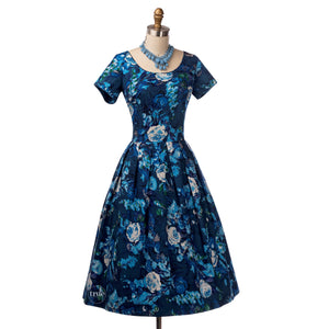vintage 1950's dress ...gorgeous COVER GIRL Miami blue floral cotton full skirt dress