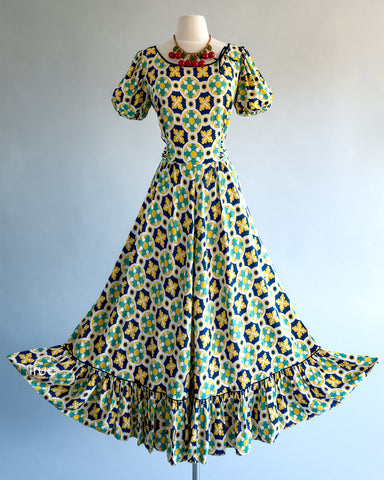 vintage 1940's dress ...lovely DALE HUNTER cold rayon graphic novelty print bustle back pin-up starlet maxi party dress ooooh la l