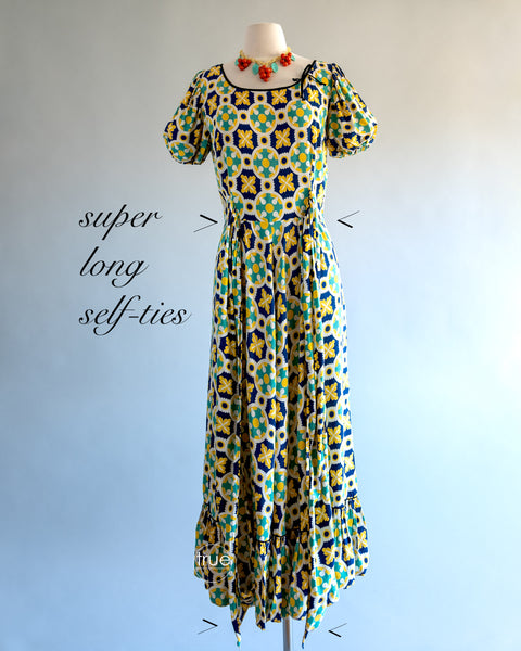 vintage 1930's - early 1940's dress ...Dale Hunter of California midi dress with a fun rounded and flounced hem