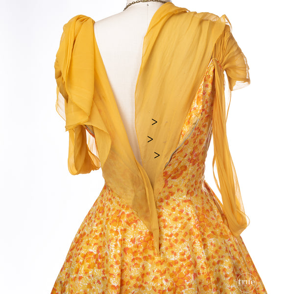 vintage 1950's dress ...pretty sunshine floral Original by Phyllis Dance Time silk full skirt dress with crinoline