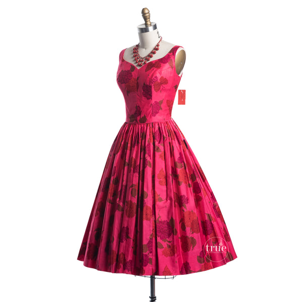 vintage 1950's dress styled by jack needleman cotton floral deadstock