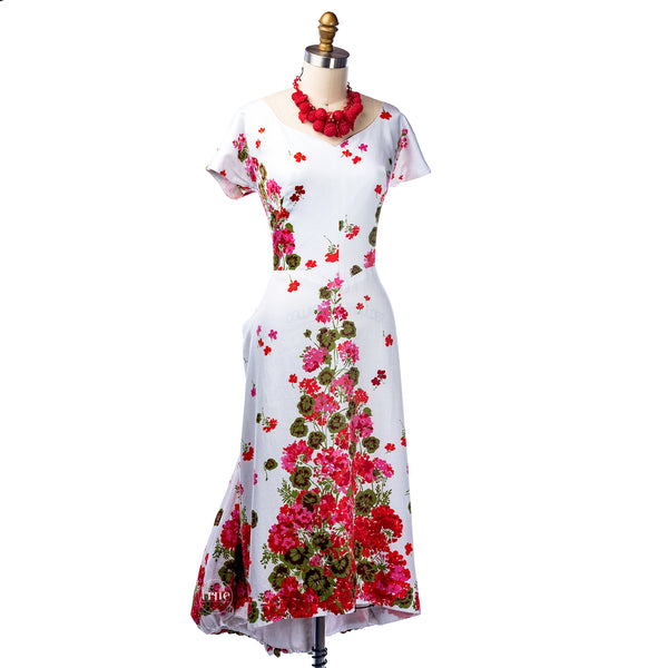 vintage 1950's dress ...spring floral Dorothy O'hara cotton sateen bubble fishtail train bombshell dress