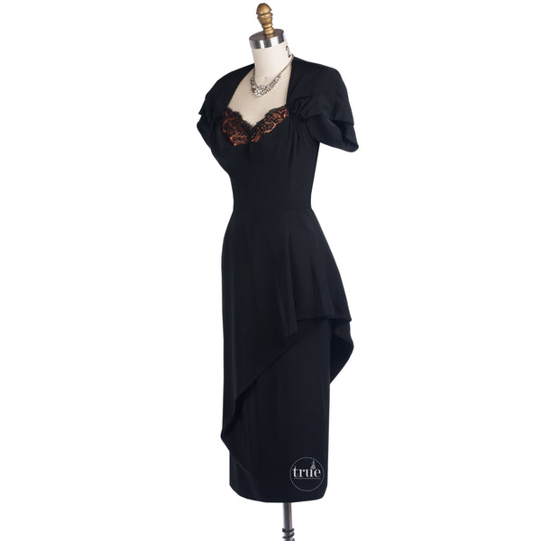 1940's Dorothy O'Hara black fortune cookie dress