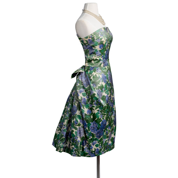 vintage 1950's dress rare ELIZABETH ARDEN new york sculptural floral cocktail party