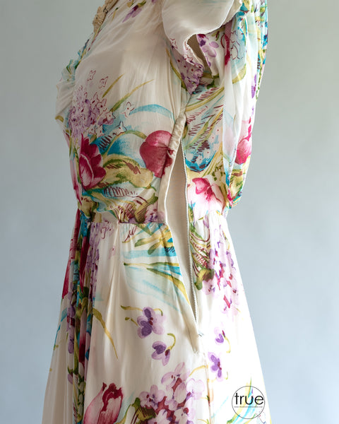 vintage 1940's dress ...pretty Emma Domb of California floral crepe chiffon goddess dress