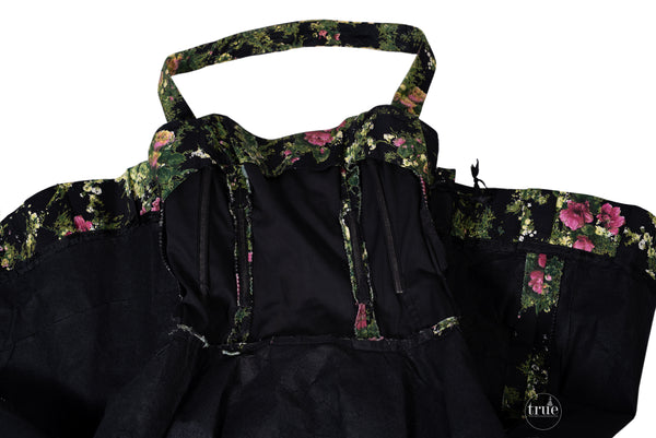 1950's Luis Estévez black floral dress