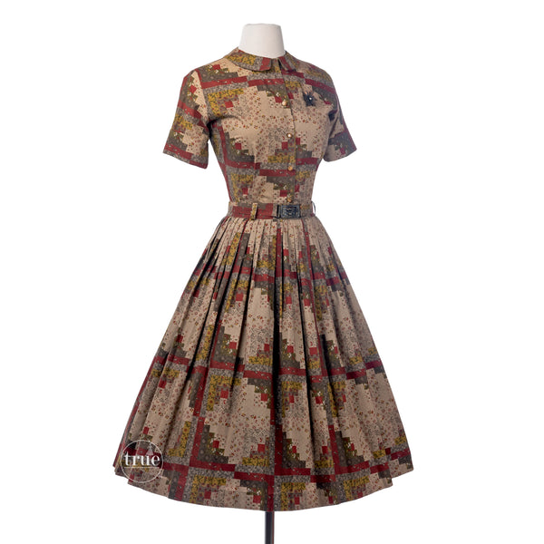 vintage 1950's dress ensemble ...2 piece fall patchwork print top & skirt with the royal welsh fusiliers belt