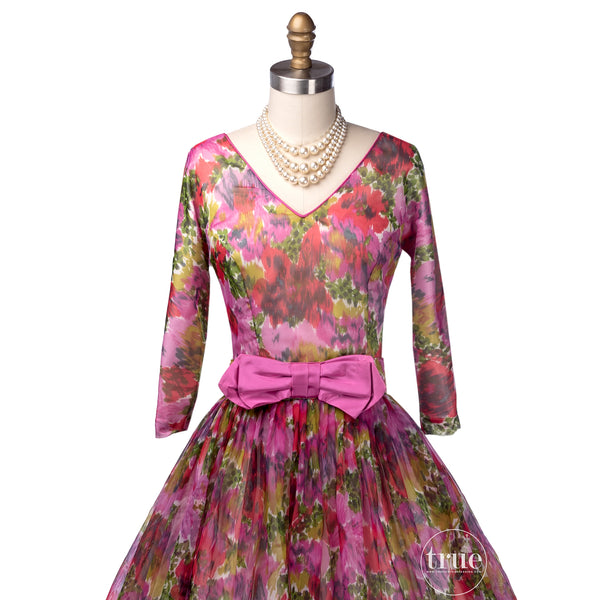 vintage 1950's dress ...colorful floral chiffon full skirt dress