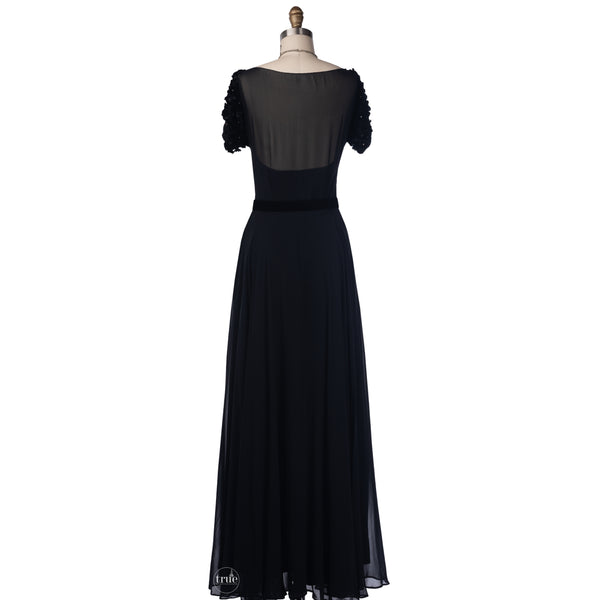 vintage 1940's dress ...old hollywood Frank Starr black dress w/ rhinestones & appliqués