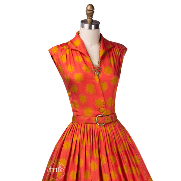 vintage 1950's dress ...lovely Georgia Bullock for I.MAGNIN & CO. silk alexander girard-esque stylized sun novelty print dress