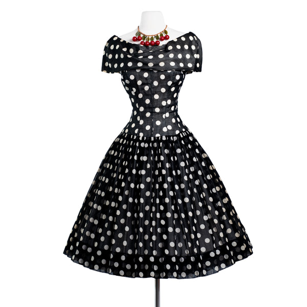 1950's dior inspired GIGI YOUNG black & white polka dot dress