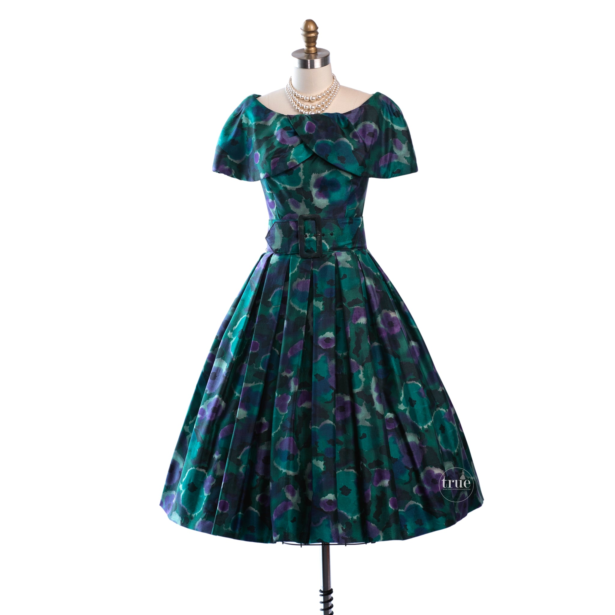 vintage 1950's dress ...dior inspired GIGI YOUNG NEW YORK silk shantung watercolor floral full skirt cocktail party dress
