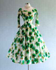 vintage 1950's dress ...gorgeous Gigi Young new york electric POPPIES silk floral dress