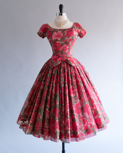 vintage 1950's dress ...darling Gigi Young floral chiffon new look dress