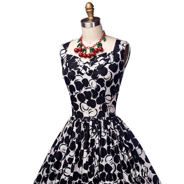 vintage 1950's dress ...fabulous Jerry Gilden B&W cherries print cotton full skirt dress