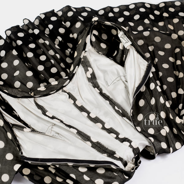 1950's Gigi Young black & white polka dot dress