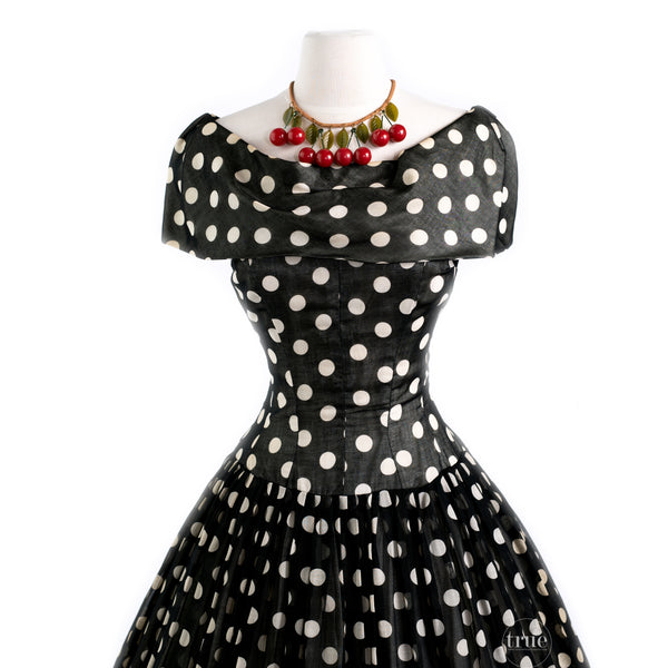 vintage 1950's dior inspired GIGI YOUNG black & white polka dot dress