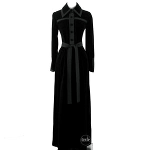 vintage 1960's dress ...John Bates for Jean Varon black velvet and matte trim peek-a-boo back maxi dress