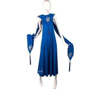 vintage 1960's dress ...rare John Bates for Jean Varon embroidered maxi dress with tassels