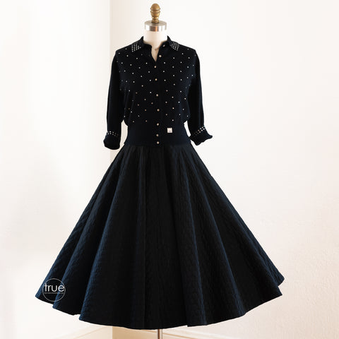 vintage 1950's circle skirt ...wardrobe staple Koret of California black quilted FULL CIRCLE skirt